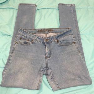 Denim - Mid waist light acid wash skinny jeans